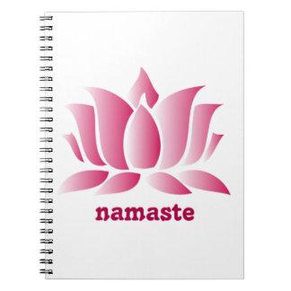 yoga pink lotus namaste spiral notebook