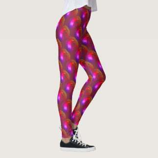 Yoga Pink & Maroon Paisley Patterns Leggings