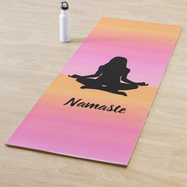 Yoga Pink Orange Rainbow Sunset Yoga Mat