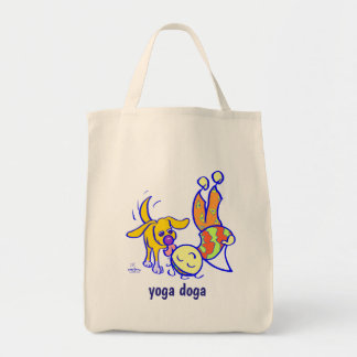 Yoga pose at home with dog helper tote