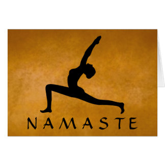 Yoga Pose Black Silhouette Custom Color Namaste Card