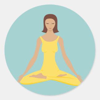 Yoga Pose Girl Classic Round Sticker