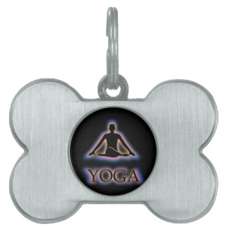 Yoga pose glowing in dark- Cow face gomukhasana Pet ID Tag