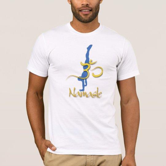 Yoga Pose handstand, om namaste t shirts