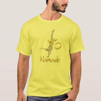 Yoga Pose handstand, om namaste yellow tshirts