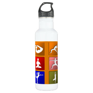 Yoga Pose Icons Stainless Steel Water Bottle