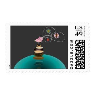 Yoga pose postage stamp