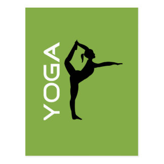 Yoga Pose Silhouette on Green Background Postcard