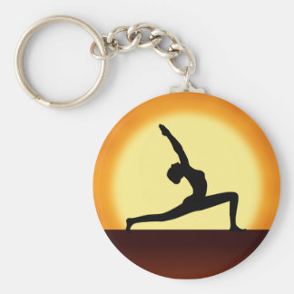 Yoga Pose Silhouette Sunrise Basic Round Key Rings Keychain