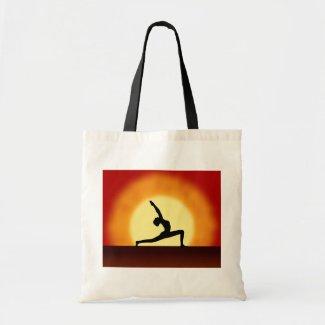 Yoga Pose Silhouette Sunrise Budget Tote Bags