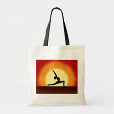 Yoga Pose Silhouette Sunrise  Budget Tote Bags Canvas Bags