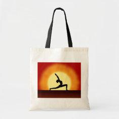 Yoga Pose Silhouette Sunrise  Budget Tote Bags Canvas Bags