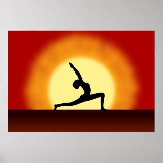 Yoga Pose Silhouette Sunrise Framed Print / Poster