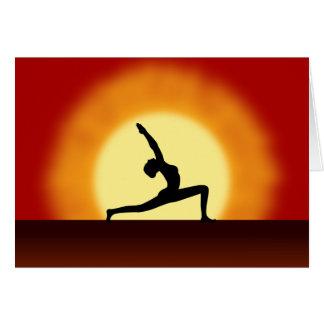 Yoga Pose Silhouette Sunrise Greeting Cards