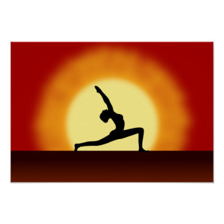 Yoga Pose Silhouette Sunrise Landscape Art Prints