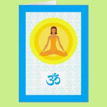 Yoga Pose, Take Time to Breathe, Om Symbol Card