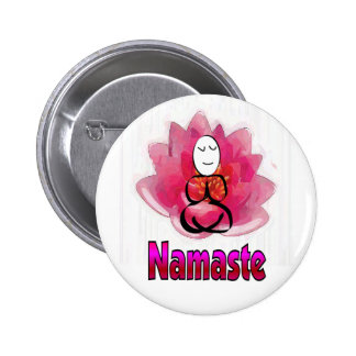 Yoga Pose with Lotus Flower Namaste Buttons