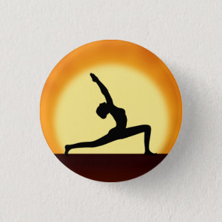 Yoga Pose Woman Silhouette Sunrise Round Badge Pinback Button