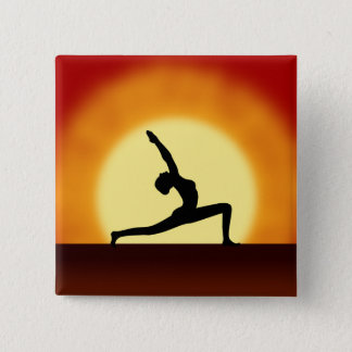 Yoga Pose Woman Silhouette Sunrise Square Buttons