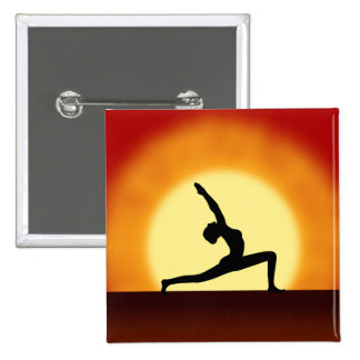 Yoga Pose Woman Silhouette Sunrise Square Buttons