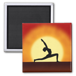 Yoga Pose Woman Silhouette Sunrise Square Magnets Magnets