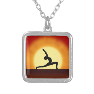 Yoga Pose Woman Silhouette Sunrise Square Necklace