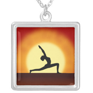 Yoga Pose Woman Silhouette Sunrise Square Necklace Necklaces