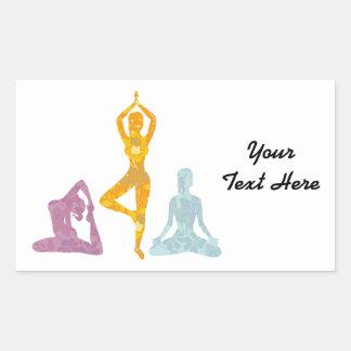 Yoga Poses (customizable) Rectangle Sticker