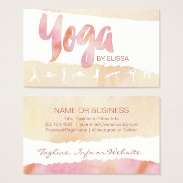 Professional Business YOGA Poses Pink & Pale Tan Watercolor Bizcards Business Card