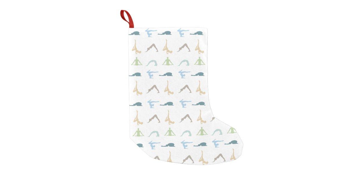 Yoga Poses Silhouette Mindfulness Meditation Small Christmas Stocking Zazzle Com