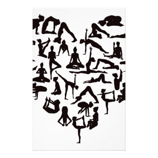 Yoga Poses Silhouettes Heart Stationery