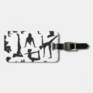 Yoga poses silhouettes tags for luggage