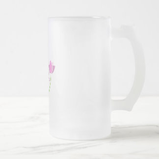 YOGA poses with a pink lotus Frosted Glass Beer Mug