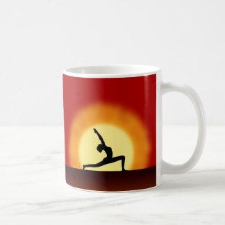 Yoga Posing Silhouette Sunrise Tea or Coffee Mugs