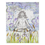Yoga Poster Zen Meditation Wild Iris Botanicals