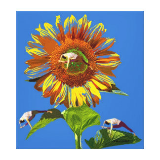 YOGA POSTURES ART WITH BRIGHT SUNFLOWER OF LIGHT GALLERY WRAPPED CANVAS