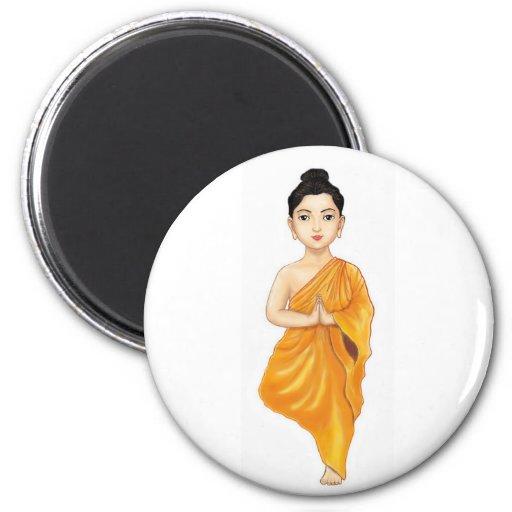 Yoga practicante joven de Buda Imán Redondo 5 Cm