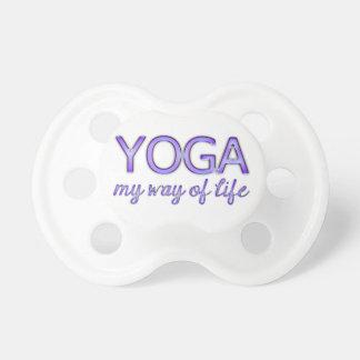 Yoga Purple Text Shiny Metallic Look Typography Pacifier