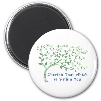 Yoga Quote: Cherish That Which is Within You 2 Inch Round Magnet