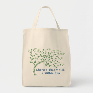 Yoga Quote: Cherish That Which is Within You Grocery Tote Bag