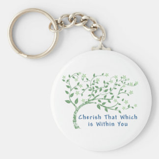Yoga Quote: Cherish That Which is Within You Basic Round Button Keychain