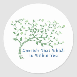 Yoga Quote: Cherish That Which is Within You Classic Round Sticker