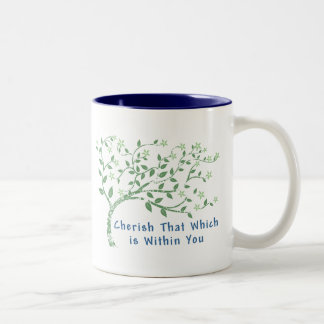 Yoga Quote: Cherish That Which is Within You Two-Tone Coffee Mug