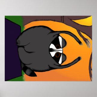 Yoga Raccoon Poster