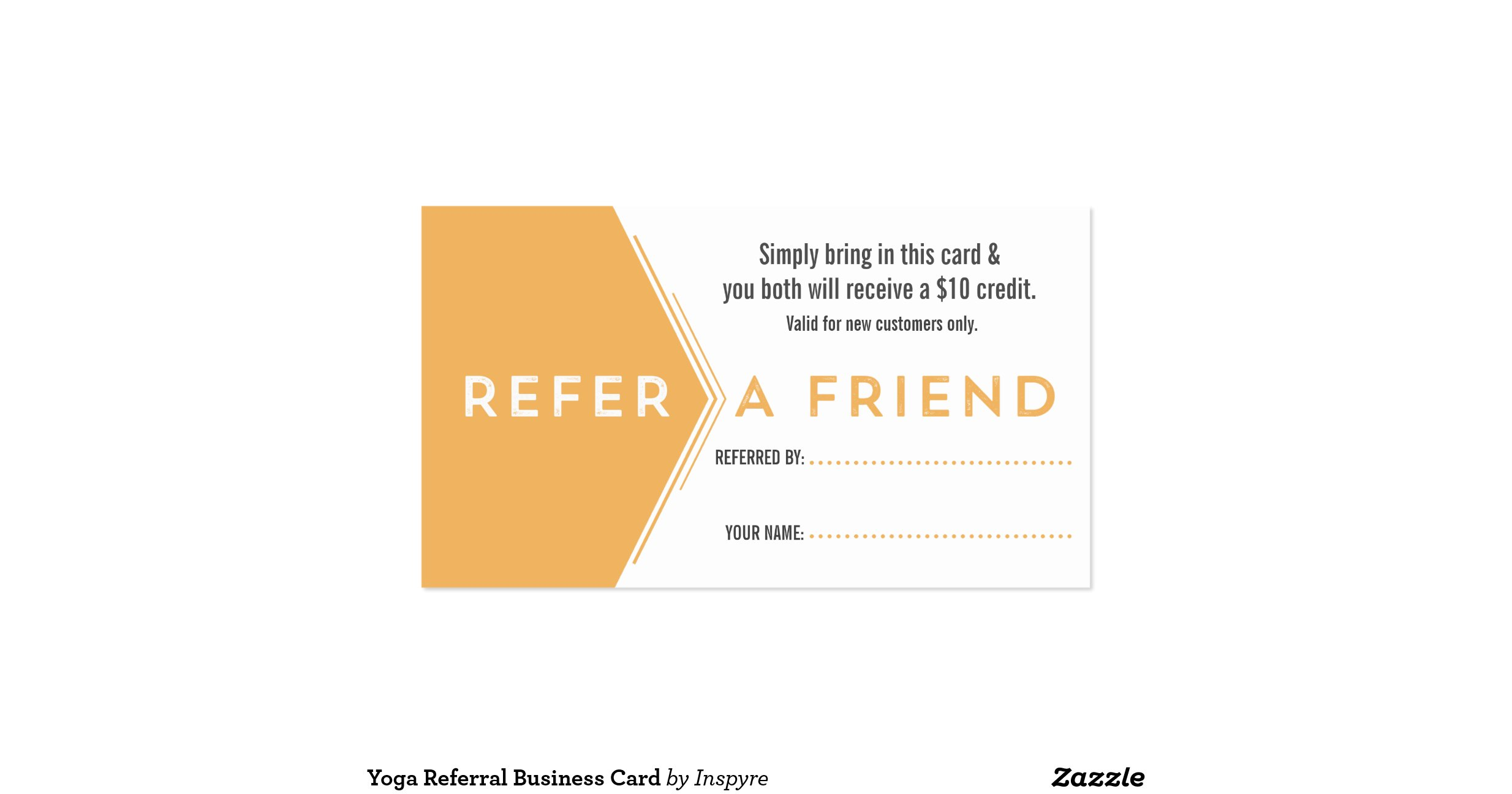 Yoga referral business card for Zazzle referral cards