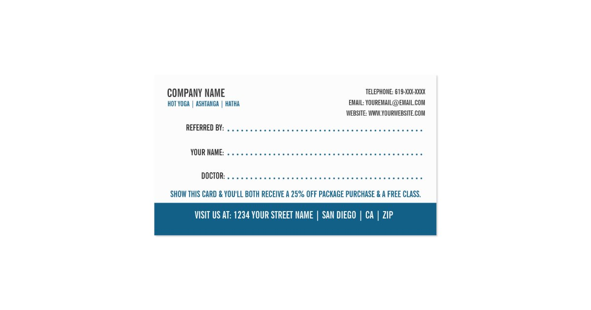 Yoga referral business card business card zazzle for Zazzle referral cards