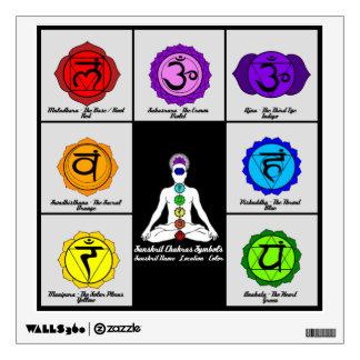 Yoga Reiki Seven Chakras Symbols Chart Wall Decal