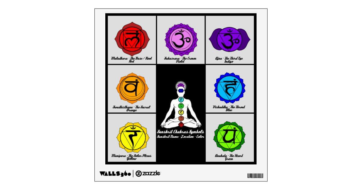 Yoga Reiki Seven Chakras Symbols Chart Wall Decal Zazzle Com