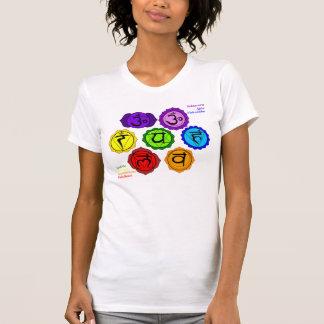 YOGA REIKI SEVEN CHAKRAS SYMBOLS LABELED T-SHIRT. T-Shirt