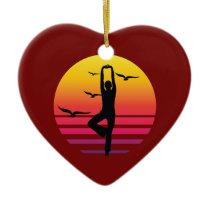 yoga retro sunset, #yoga ceramic ornament